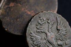 俄国硬币18世纪,俄罗斯帝国安心的象征的特写镜头 免版税库存图片