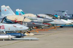 俄国空军喷气式歼击机  俄罗斯, Zhukovsky机场 2017年7月18日 库存图片