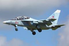俄国空军着陆的雅克夫列夫雅克-130 RF-44579在Kubinka空军基地的在军队2015论坛期间 免版税库存图片