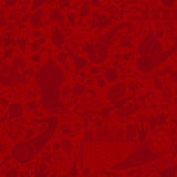 俄国红色无缝的样式,传染媒介例证 免版税库存图片