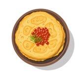 俄国薄煎饼用在白色的红色鱼子酱 皇族释放例证