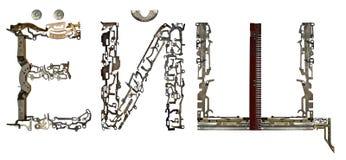 俄国西里尔字母在` Ó-, à ‹Ð© `上写字,装配从金属零件 免版税库存照片