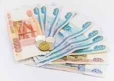 俄国金钱背景 卢布钞票和 免版税库存照片