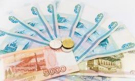俄国金钱背景 卢布钞票和 免版税库存图片