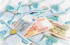 俄国金钱背景 卢布钞票和 免版税图库摄影