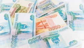 俄国金钱背景 卢布钞票  库存照片