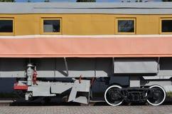 俄国铁路技术支持trai的轮子的照片 免版税库存图片