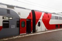 俄国铁路的两层莫斯科沃罗涅日火车站立 免版税库存照片
