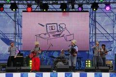 俄国音乐流行音乐民间小组合奏Malinovskaya帮会表现  库存图片