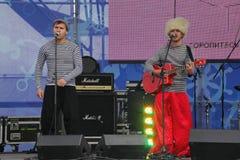 俄国音乐流行音乐民间小组合奏Malinovskaya帮会表现  免版税库存照片