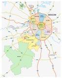 俄国首都莫斯科的行政和政治和路线图 免版税库存照片