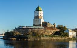 俄国, Vyborg,中世纪斯堪的纳维亚城堡 库存图片