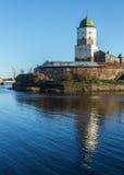 俄国, Vyborg,中世纪斯堪的纳维亚城堡 免版税库存照片