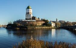 俄国, Vyborg,中世纪斯堪的纳维亚城堡 库存照片