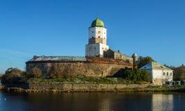 俄国, Vyborg,中世纪斯堪的纳维亚城堡 图库摄影