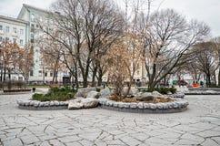 俄国 公园在干净的池塘的莫斯科 2017年11月18日 免版税图库摄影