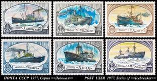 俄国破冰船。邮票1977年。 库存照片