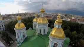 俄国 圣彼德堡 圣尼古拉斯海军大教堂 影视素材