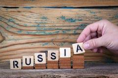 俄国 在办公桌,情报和通信背景的木信件 免版税库存照片