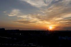 俄国 在经济成就的公园陈列的日落在莫斯科 库存照片