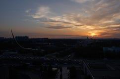 俄国 在经济成就的公园陈列的日落在莫斯科 免版税库存图片