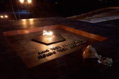 俄国 彼得罗扎沃茨克 永恒火焰在彼得罗扎沃茨克 2017年11月15日 免版税库存照片