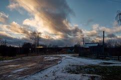 俄国 彼得罗扎沃茨克 Sheltozero村庄在卡累利阿 2017年11月15日 库存照片