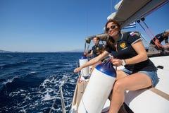 俄国水手参加航行赛船会第16 Ellada 图库摄影