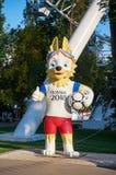 俄国 标志国际足球联合会` Zabivaka `在顿河畔罗斯托夫 2018年7月01日 库存照片