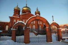俄国 莫尔多瓦共和国共和国,圣尼古拉斯教会在萨兰斯克 免版税图库摄影