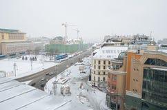 俄国 莫斯科全景从中央儿童` s商店的屋顶的 2018年2月11日 免版税库存照片