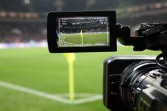 俄国 莫斯科11月2017年 足球比赛的现场广播 免版税库存照片
