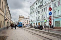 俄国 街道和房子在莫斯科在Chistye Prudy区域  2017年11月18日 库存照片