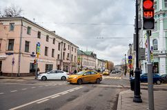 俄国 街道和房子在莫斯科在Chistye Prudy区域  2017年11月18日 图库摄影