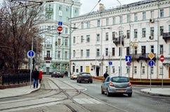 俄国 街道和房子在莫斯科在Chistye Prudy区域  2017年11月18日 免版税图库摄影