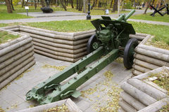 俄国152 mm短程高射炮模型1938年 库存照片