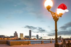 俄国 yekaterinburg 著名偶象地方在新年城市 免版税库存图片