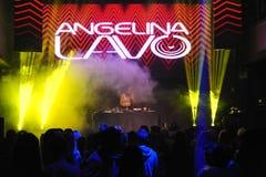 俄国DJ Angelina Lavo在阶段执行 图库摄影