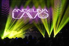 俄国DJ Angelina Lavo在阶段执行 库存照片