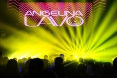 俄国DJ Angelina Lavo在阶段执行 库存图片