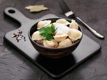 俄国pelmeni,馄饨,饺子用肉 库存图片