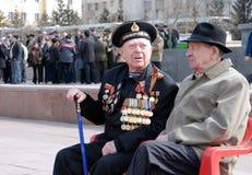 俄国WWII退伍军人在胜利天 免版税库存照片