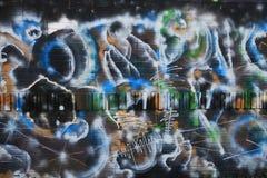 俄斯拉发,捷克- 4月10 :Milada Horakova公园从20世纪90年代由2014年4月10日的抽象颜色街道画填装了 免版税库存照片