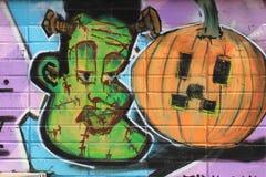 俄斯拉发,捷克- 4月10 :Milada Horakova公园从20世纪90年代由2014年4月10日的抽象颜色街道画填装了 免版税图库摄影