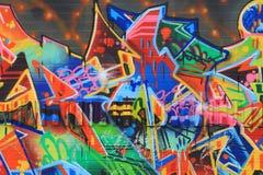 俄斯拉发,捷克- 4月10 :Milada Horakova公园从20世纪90年代由2014年4月10日的抽象颜色街道画填装了 免版税库存图片