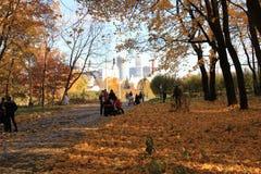 俄罗斯、莫斯科, 10月, 13, 21012,秋天走户外在秋天的公园VDNKH的,人们和家庭 免版税库存照片