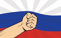 俄罗斯与一个政府例证的抗议战斗与作为背景和手的旗子 库存照片