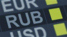 俄罗斯卢布上升,下跌 世界外汇市场 动摇的货币兑换率 库存例证