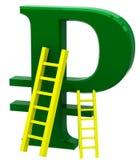俄罗斯卢布的标志与梯子的 免版税库存图片