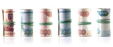 俄罗斯卢布钞票卷全景 免版税图库摄影
